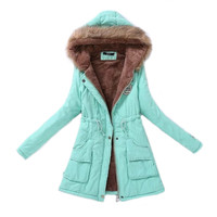 Women Parka Fashion Autumn Winter Warm Jackets Women Fur Collar Coats Long Parkas Hoodies Office Lady