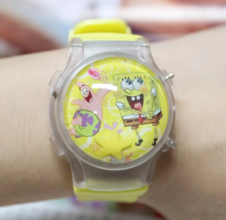 2019 Cute Cartoon Sponge Silica Gel Jelly Water Ball Flashing Light Flip Cover Children's Electronic Watch Gifts For Boys
