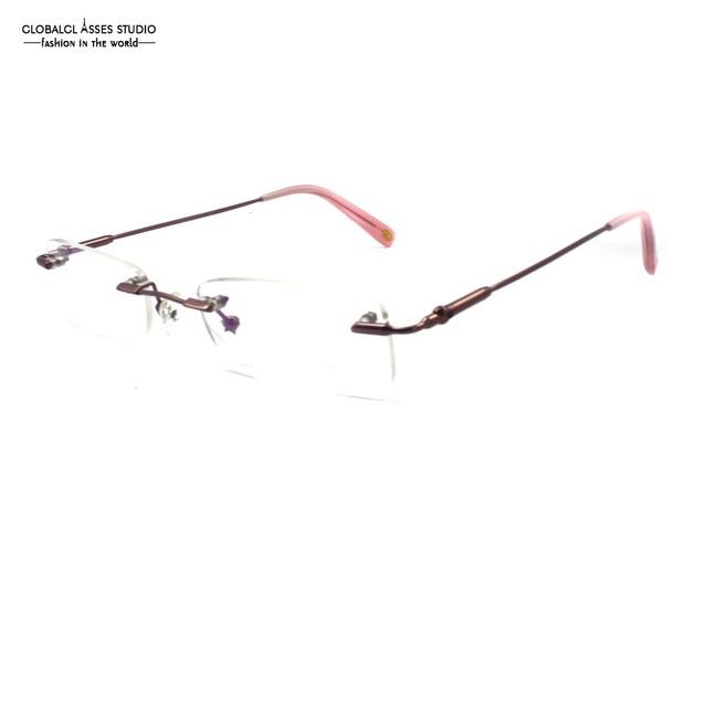 Homens de Óculos de Metal Sem Aro do vintage Fino rosa Fosco Flexível Memória Alta Qualidade Lente Óptica Rx Vidro Limpo COL102 D1013