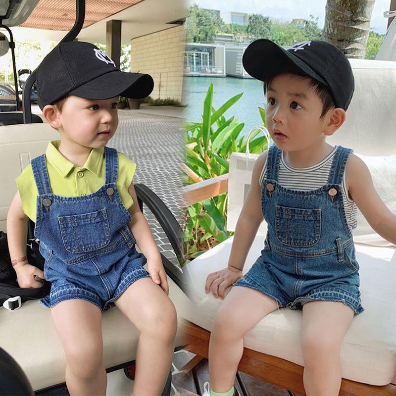 Children's Denim Overalls For Baby Boys Summer Denim Dungarees Girls Pocket Jumpsuit Kids Boys Pants Children's Jeans