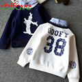 2015 Autumn Winter New Kids Clothes  Boys Long Sleeve Turn-down Collar Sweater  Fashion Thick Casual Sweater for Boys 2 Colors