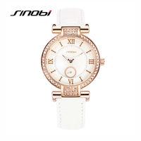 SINOBI Luxury Women Diamond Quartz Watches White Leather Rose Gold Case Brand Female S Round Bracelet