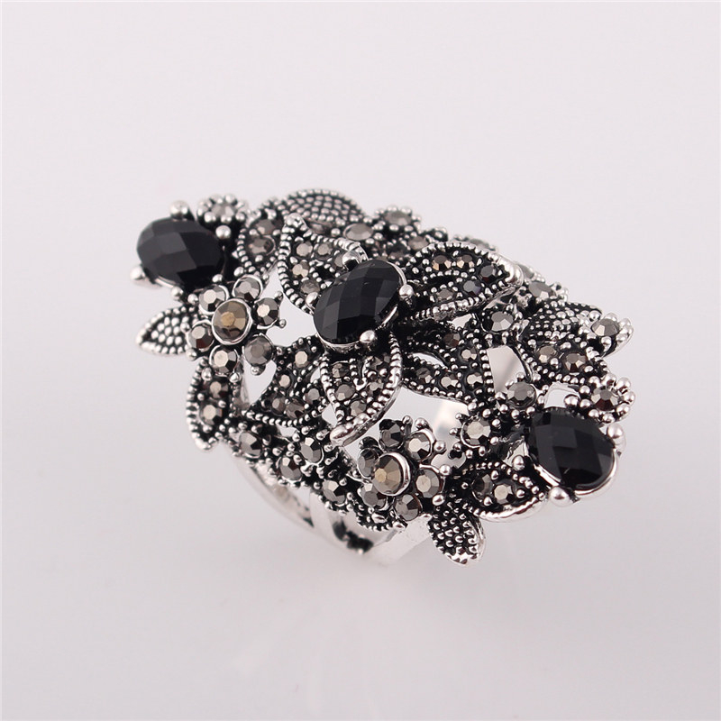 Ajojewel Black Crystal Rhinestone Flower Jewelry Vintage Retro Ring - Сәндік зергерлік бұйымдар - фото 3
