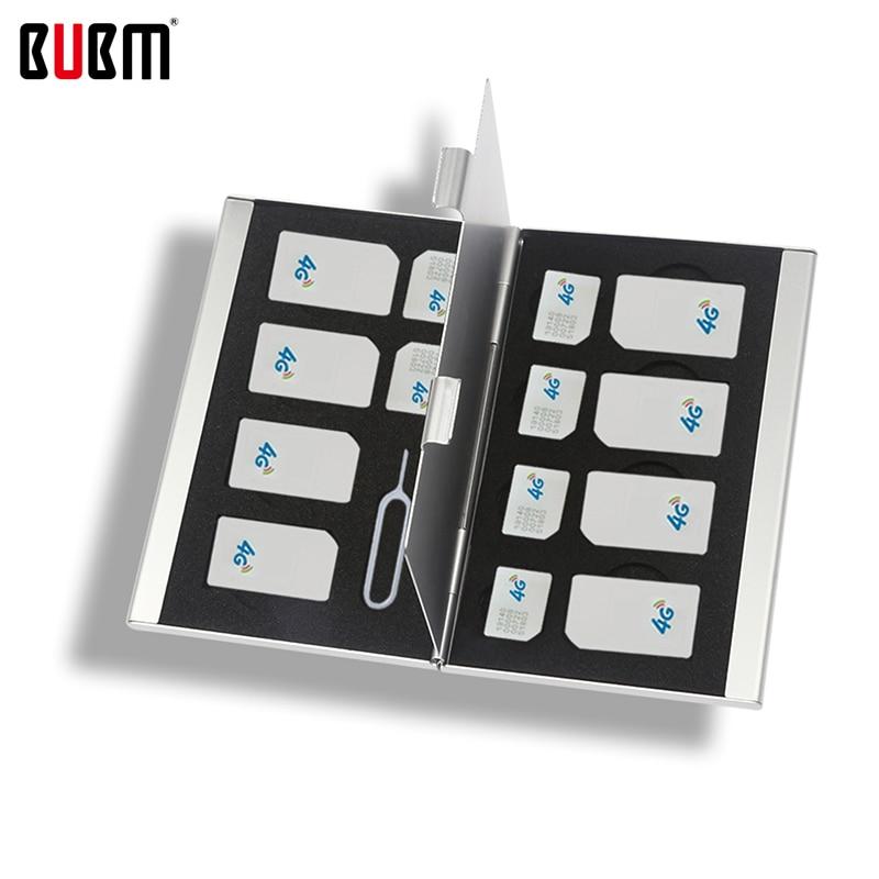 BUBM 블랙 레드 실버 36 스타일 알루미늄 상자 메모리 SD 카드 홀더 케이스 CF CF NANO TF SIM 카드