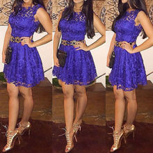 Woman Dresses !!Fashion Womens Summer Sleeveless Royal Blue Lace Dress Short Mini Size S-XL