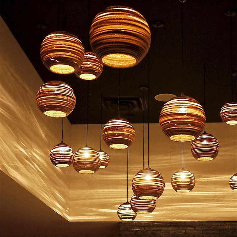 modern wood Paper honeycomb pendant lights carton  Bird Cage E27 banboo pendant lamp for living room restaurant cafe shop