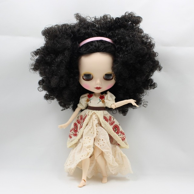 TBL Neo Blythe Doll Dark Black Curly Hair Jointed Body