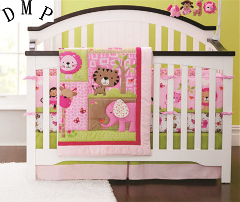 Promotion! 7pcs Embroidery Baby Bedding Set for Crib!Baby Cot Bed,Cot Sets,include (bumpers+duvet+bed cover+bed skirt) promotion 7pcs embroidery baby crib bedding sets baby nursery cot kit set include bumpers duvet bed cover bed skirt