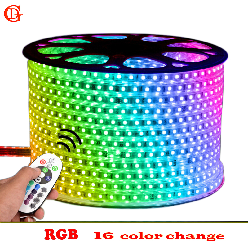 14m 15m 16m SMD 5050 RGB LED Strip 220v Waterproof Led Light 60Leds/m Flexible Neon Led Tape Tiras Ruban + IR Remote Control 10m 5m 3528 5050 rgb led strip light non waterproof led light 10m flexible rgb diode led tape set remote control power adapter