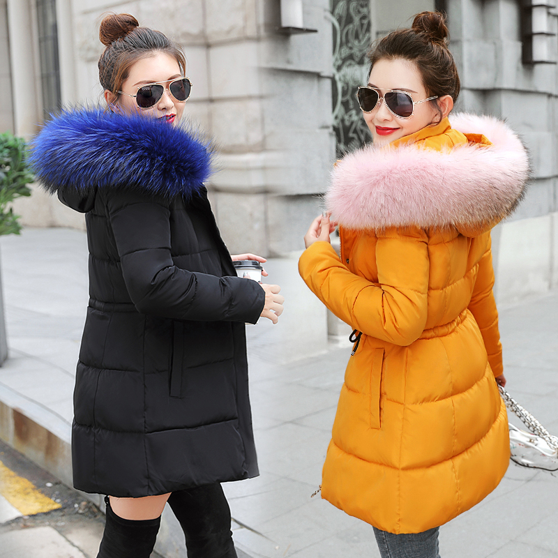 Winter Jacket Women New 2019 Coats Artificial Raccoon Hair Collar Female Parka Black Thick Cotton Padded Lining Ladies S-3XXXL(China)