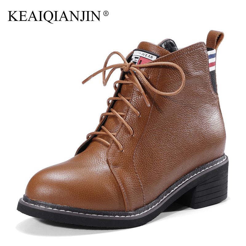 KEAIQIANJIN Woman Lace Up Martins Boots Autumn Winter Plus Size 33 - 44 High Heel Boots Black Genuine Leather Ankle Boots 2017 martins real leather plus velvet british style high heel womens fashion boots winter 2015 lace up pointed toe ankle side zip