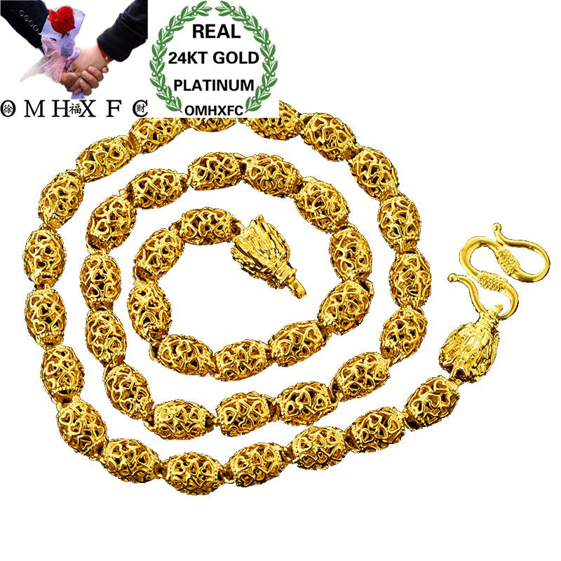 OMHXFC Wholesale European Fashion Man Male Party Wedding Gift Long 60cm Hollow Olive Real 24KT Gold Chain Necklace NL35OMHXFC Wholesale European Fashion Man Male Party Wedding Gift Long 60cm Hollow Olive Real 24KT Gold Chain Necklace NL35