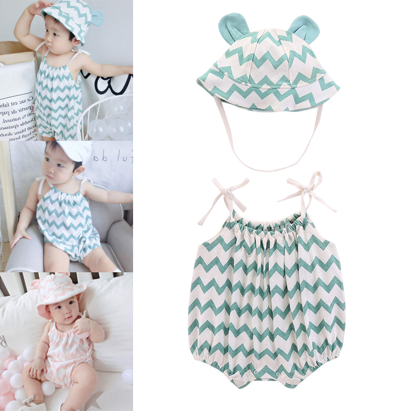 Baby Girls Jumpsuits with Hat Sleeveless Soft Breathable Rompers for Summer FJ88(China)