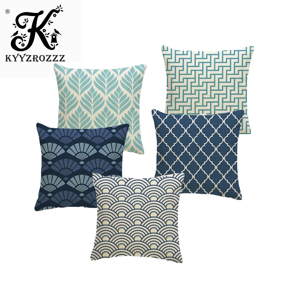 Us 3 01 33 Off New Variety Japanese Style Cloud Fan Geometric Blue Cushion Cover Gaming Woven Linen Children S Decor Autumn Pillow Case In Cushion