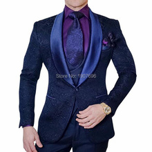 цена Navy Blue Slim Fit Men Suits for Wedding Prom Stage Shawl Lapel Casual 3 Piece Man Set Jacket Pants Vest Groom Tuxedos