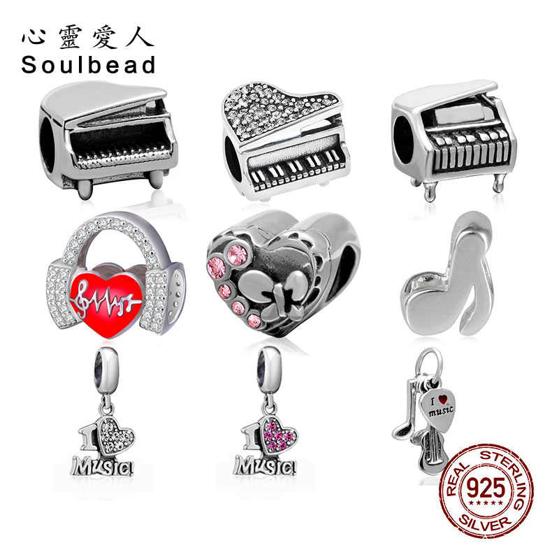 Soulbead 925 Sterling Silver Love Music Instruments Charms Fit Pandora Bracelet Beads Crystal 2019 Music Series