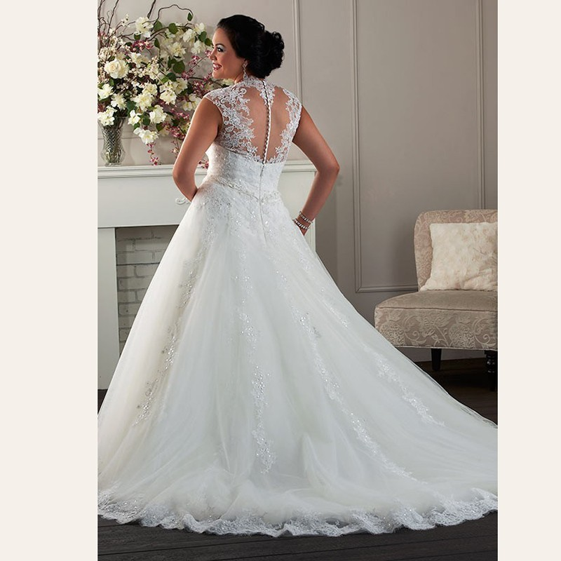 A-Line-Cap-Sleeve-Plus-Size-Wedding-Dress-Plunging-Neckline-Big-Vestido-Appliques-Lace-Bridal-Gown (1)