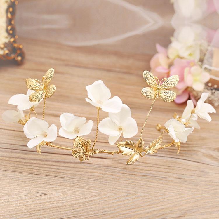 White Flower Butterfly Soft Tiara Bride Wedding Hair Jewelry