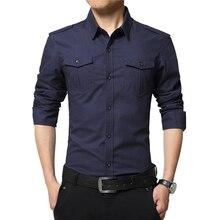 49bd566241 Color sólido camisa hombres Smart Casual para hombre Camisas manga larga  Camisas Slim Fit militar 2019