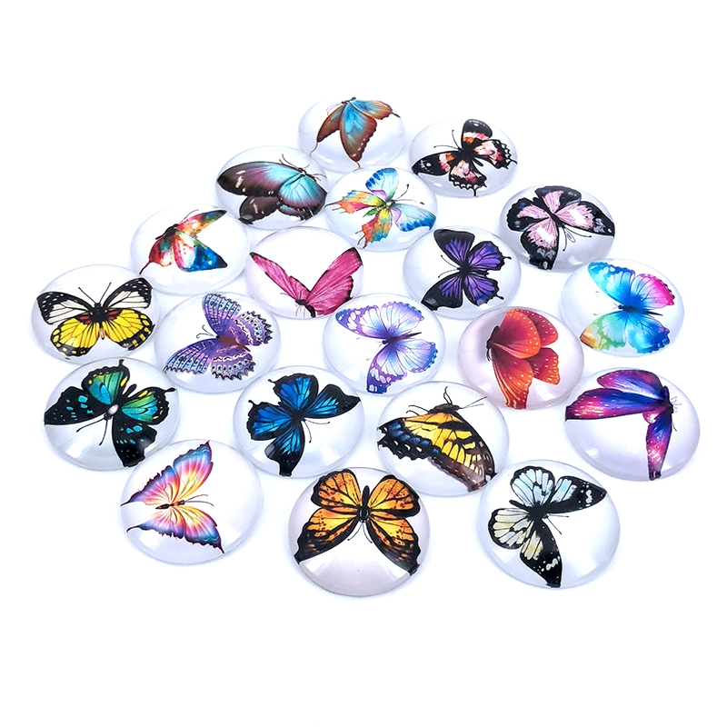 40pcs/lot 10mm 12mm 14mm 16mm Round Color Butterfly Pattern Glass Cabochon For DIY Jewelry Making Findings & Components T008