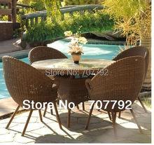 2017 Garden Rattan Furniture Glass table coffee tables and chairs set(China)