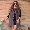 100% Genuine Fox Fur Vest Medium Long Waistcoat Gilet 2016 Fashion Winter Women's Natural Fur Vests Genuine Fox Fur Coat