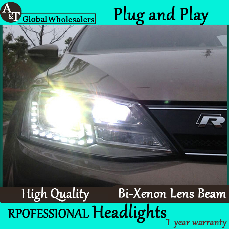 A&T Car Styling for VW Jetta MK6 Headlights 2011-2015 Volkswagen LED Headlight DRL Bi Xenon Lens High Low Beam Parking Fog Lamp hireno car styling for toyo ta corolla 2011 13 headlights led super bright headlight drl xenon lens high fog lam