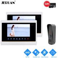 JERUAN 720P AHD HD 7 Inch Video Door Phone Unlock Intercom System 2 Record Monitor IR