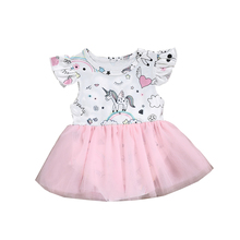 10ee7d689 Hot Sale Kids Girl Unicorn Princess Romper Dress Clothes Kid Baby Party  Wedding Pageant Tulle Tutu