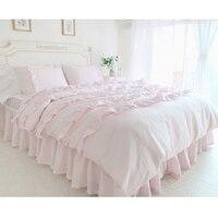 Содержит красивый розовый кружевной взъерошенные утешитель, пододеяльник twin Королева Король Размер одеяла, кровать в мешок, постельный ком