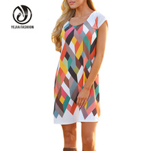 Yejia Fashion Summer Knee-Length Dress For Pregnant Geometric Pattern Casual Loose Pregnancy Clothes Women Maternity Dress