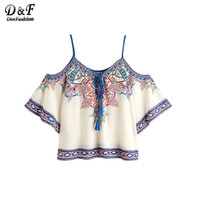 Dotfashion Aztec Print Boho Blouse 2017 Women Vintage Lace Up Cold Shoulder Summer Tops Fashion Sexy