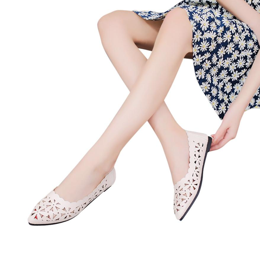 Shallow Flat Heel Hollow Out Flower Shape Nude Shoes  1