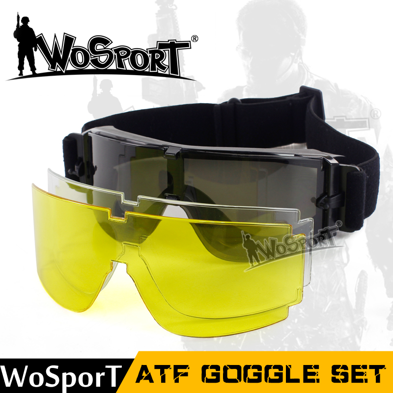 WoSporT Tactical USMC Airsoft X800 Goggle Hunting Military Paintball Wind Dust Protection Glasses 3 Lens Outdoor Hiking Sunglass