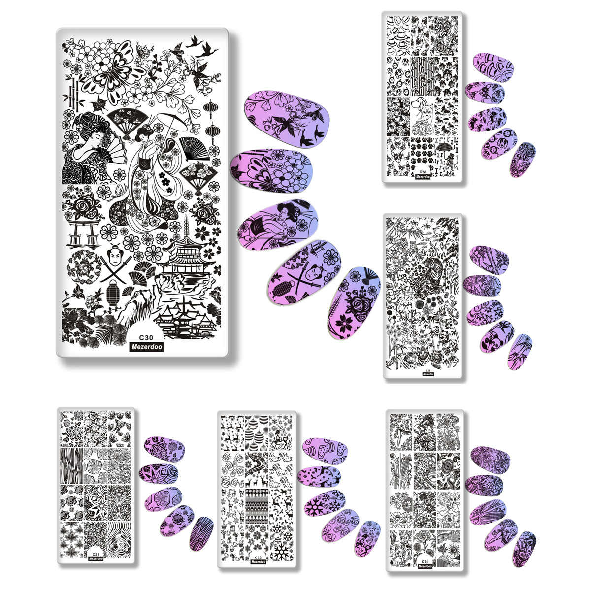 Mezerdoo Animal Plants Fruits Nail Stamping Plate Nail Art Stamping Image Plate Cute Dogs Hippocampus Design Nail Stamp Template