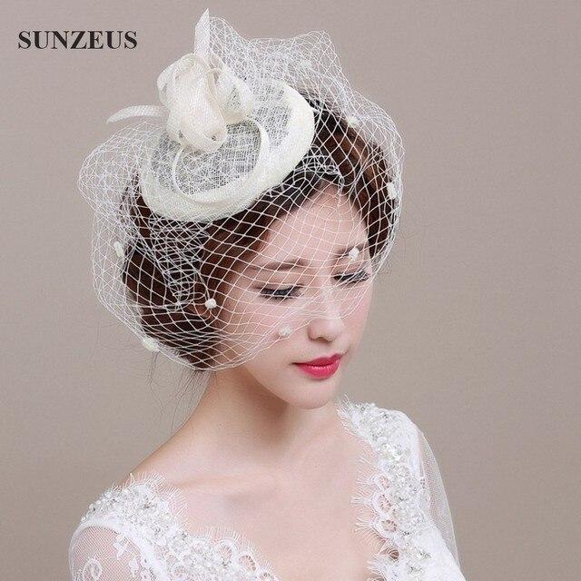Wholesale Hand-made Bridal Hats Black Linen Tulle Wedding Hat Veils SQ004