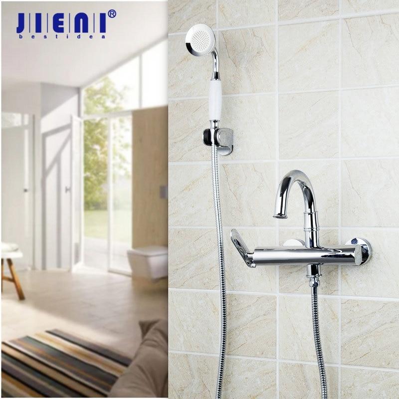 JIENI Wall Mounted Brass Faucet Spout Filler Diverter Chrome Bathtub Shower Faucet Ceramics Bathroom Sink Faucet Mixer Taps mojue thermostatic mixer shower chrome design bathroom tub mixer sink faucet wall mounted brassthermostat faucet mj8246