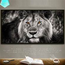 PSHINY 5D DIY Diamond embroidery Black-and-White Lion picture Full Mosaic Square rhinestone animals Painting cross stich