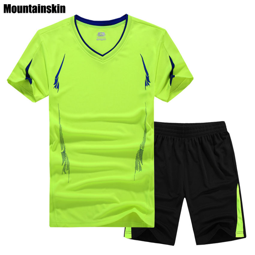 Mountainskin 9XL Mens Summer Breathable Sport Suits Outdoor Quick Dry Sportswears Hiking Fishing Running T-Shirts&Shorts VA134