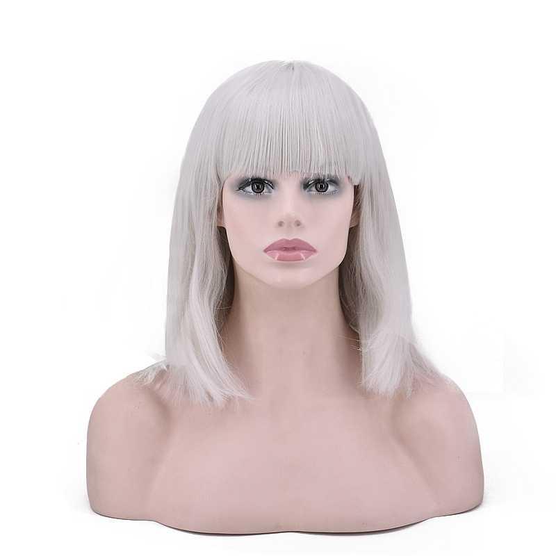 SEVINÇ ve GÜZELLIK Beyaz Siyah Altın Kırmızı Yeşil Beyaz Bob Kısa Peruk Sentetik Saç Yüksek Sıcaklık Fiber Için 14 inç kadın Peruk