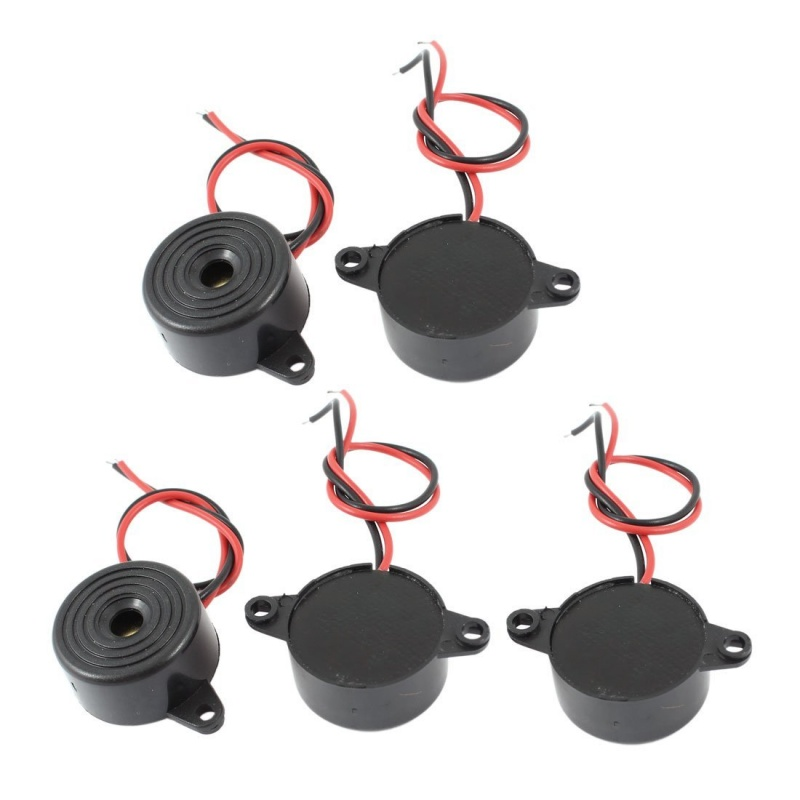 5 Pcs DC 3-24V 85dB Sound Electronic Buzzer Alarm Black 23 X 12mm