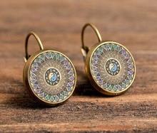 vintage handmade earrings om spiral fractal earring om symbol meditation zen earrings mandala earring jewelry for women c-e195