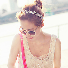 2016 White/Gold Women's   Crystal Rhinestone Flower Elastic Hair Band Headband HairWear Accessories 8M9C