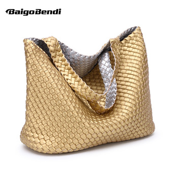 Super Recommend !! Ladies Handmade Knitting Handbag Criss-Cross Woven Leather bag Women String Large Capacity Casual Tote