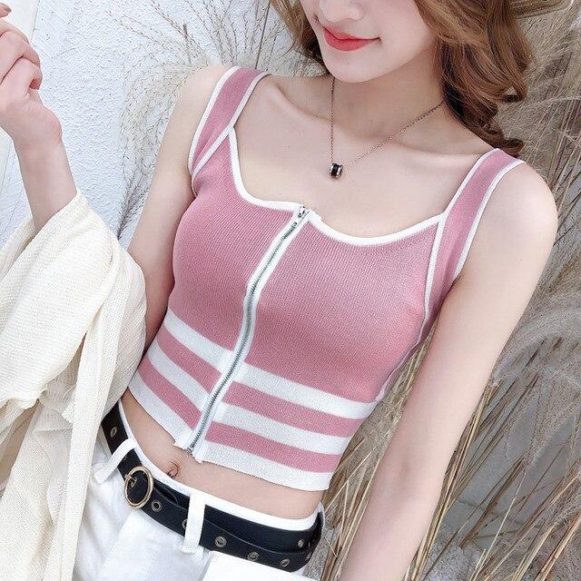 Mùa hè phần mỏng dệt kim sling nữ vest màu sắc phù hợp với dây kéo đa năng phần ngắn cao eo rốn sexy bên trong