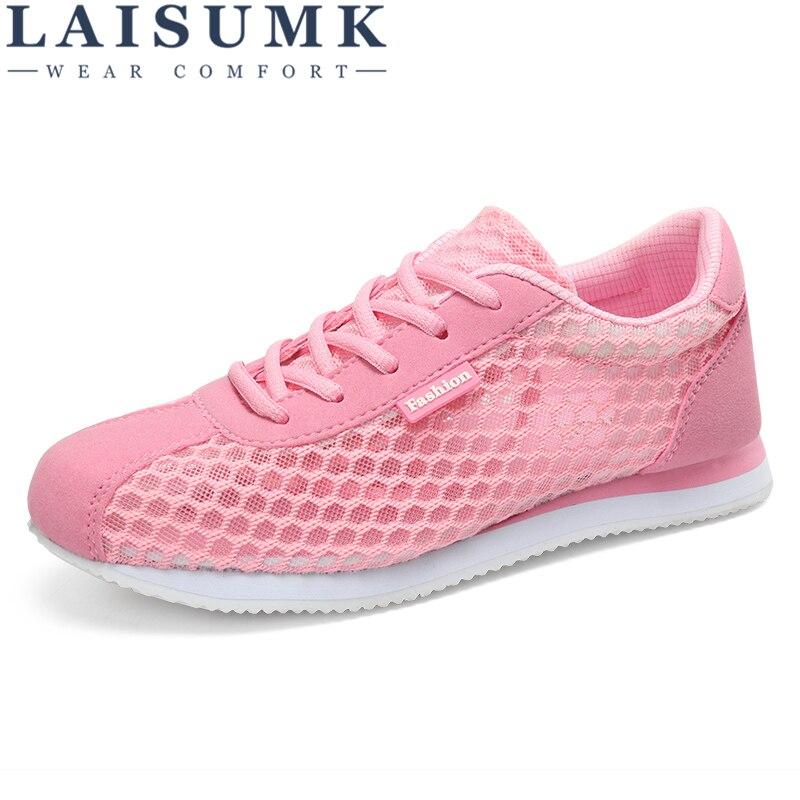 2018 LAISUMK Women Shoes Summer Fashion Casual Cutouts Lace Canvas Shoes Hollow Floral Breathable Platform Flat Shoes Sneakers