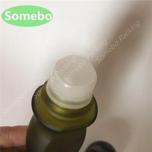 Image 3 - 300pcs/lot 50ML Olive Green Frosted Glass Roller Bottle, Body Bottle Deodorant Ball Bottle, 50CC Glass Essence Bottle