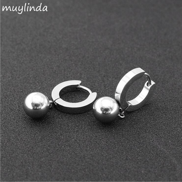 Punk Style Small Hoop Earrings Stainless Steel Charm Beads For Women Men Circle Creole