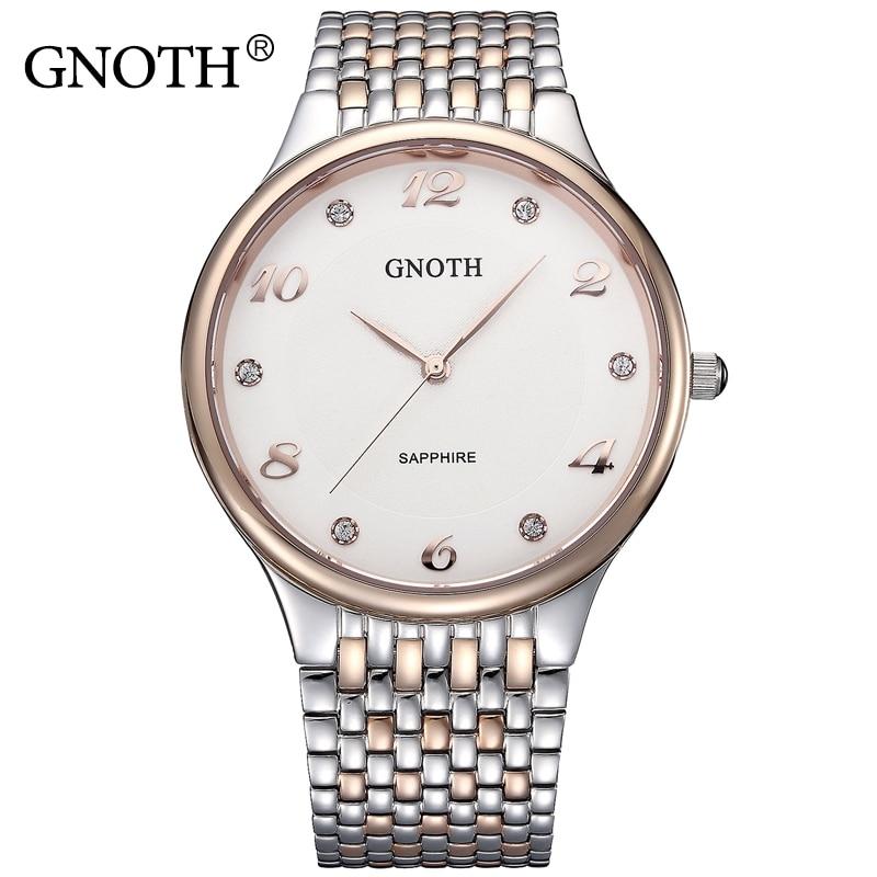 GNOTH Top Brand Women Watch Female Rose Gold Stainless Steel Diamond Quartz Waterproof Wristwatch Lady Clock Gift Box 2017 New