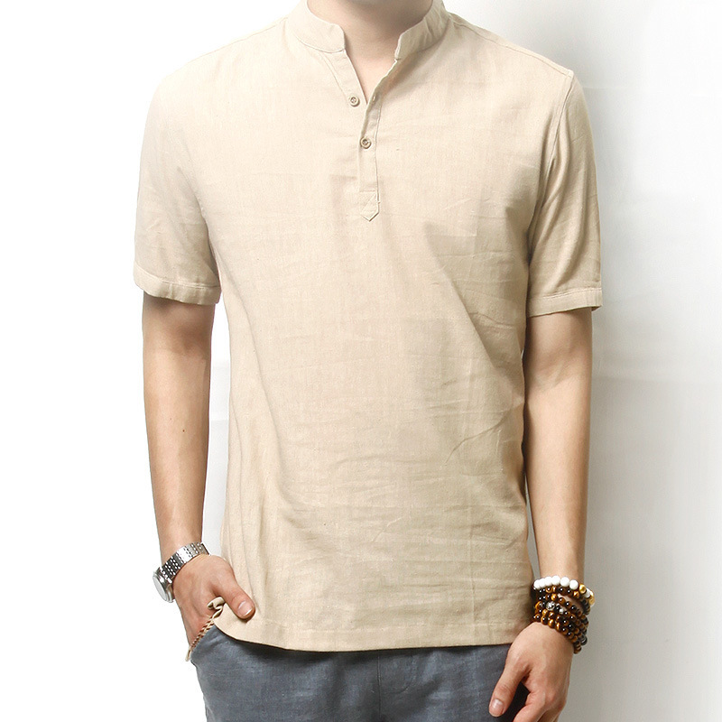 New Men Shirt Short Sleeve Chemise Homme 2015 Fashion Design Beige ...